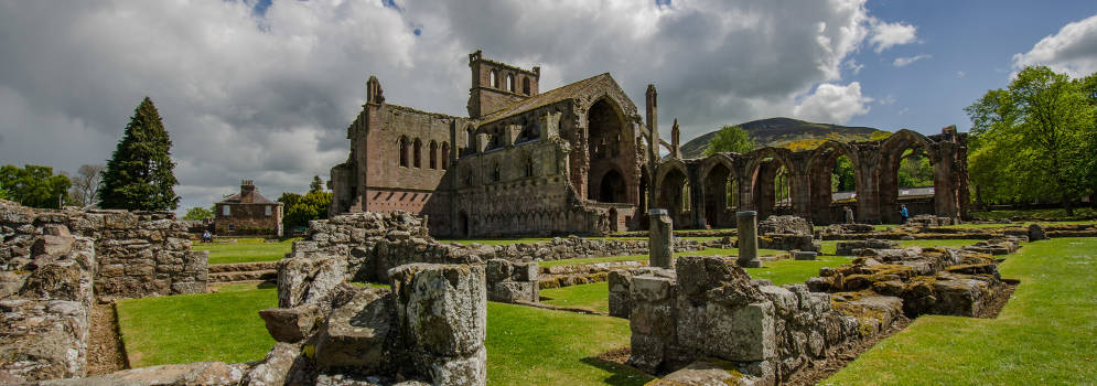Melrose Abbey in de Scottish Borders, Schotland