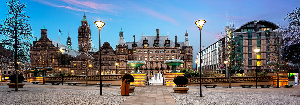 De stad Sheffield in South Yorkshire, Engeland