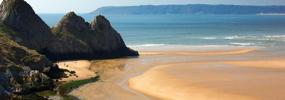 Three Cliffs Bay op de Gower in Wales